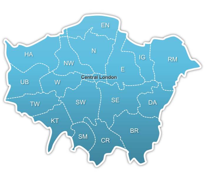 greater london map with location links for offices for let