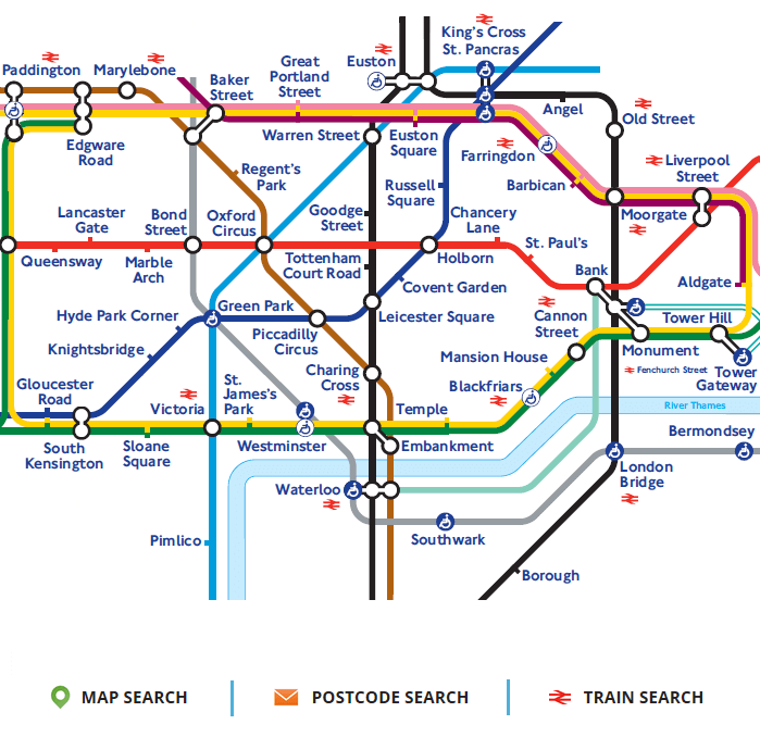 tube station map with office location links