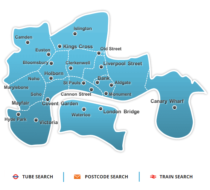 london map with office rental location links