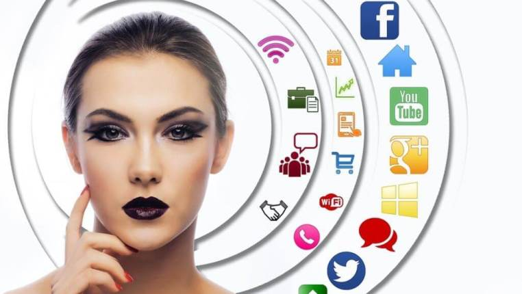 womens face with social media icons in the background